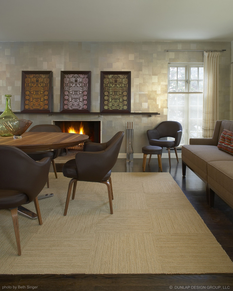 Woven Rug Dining Room Contemporary with Art Dining Room Fireplace Leather Dining Chairs Metallic Modern Rug Modern Wallpaper