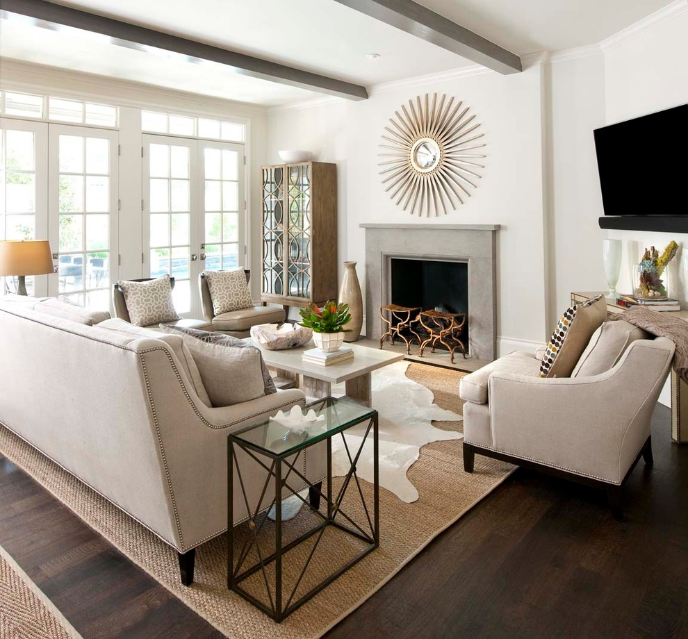 Woven Rug Family Room Traditional with Beams Ceiling Beams Clean Coffee Table Fireplace French Doors Fresh Gray Leuders