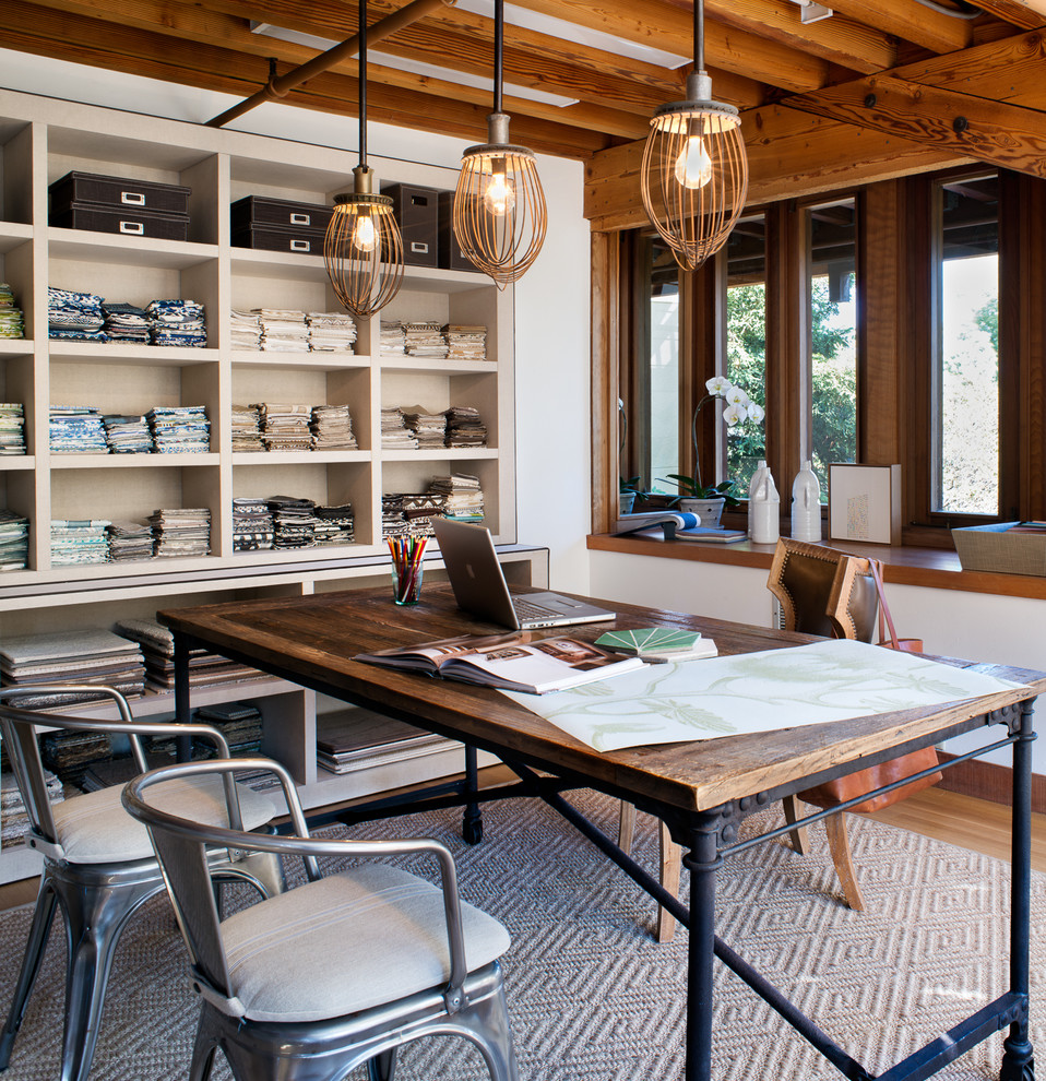 Woven Rug Home Office Contemporary with Built in Bench Seat Built in Shelving Desk Exposed Joists Fabric Swatches