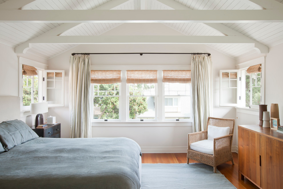 Wrap Around Curtain Rod Bedroom Beach with Baseboard Beach Bedroom Bungalow California Clapboard Cottage Double Hung Windows Master Bedroom Pine
