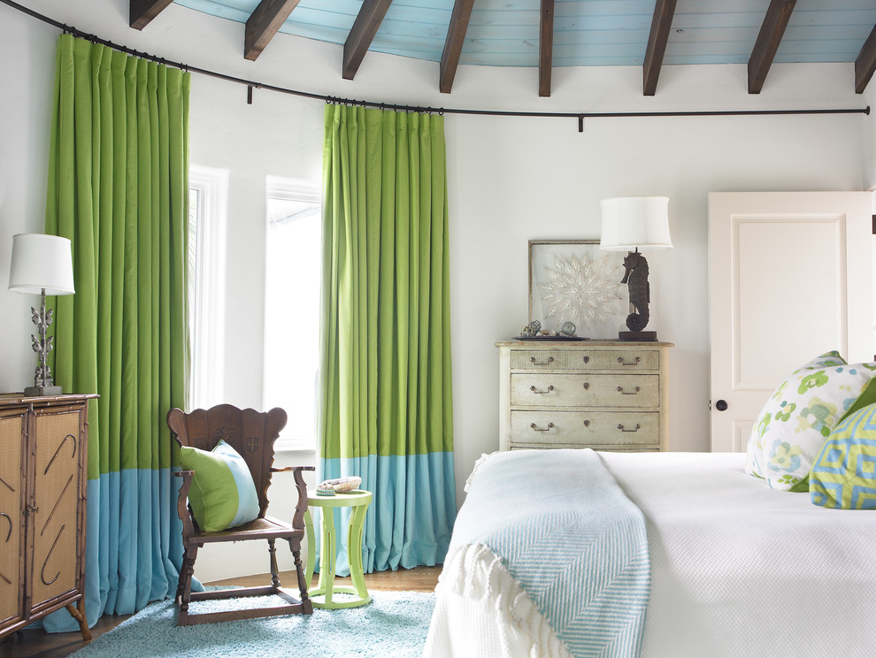 Wrap Around Curtain Rod Bedroom Beach with Bed Blue Blue Drapes Dresser Green Green Curtains Green Drapes Green Side