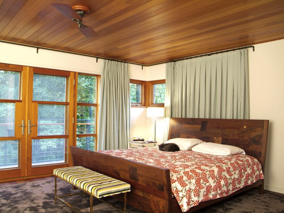 Wrap Around Curtain Rod Bedroom Rustic with Cabin Ceiling Fan Curtains Drapes Drum Lampshade Floor Lamp Floral Duvet Foot