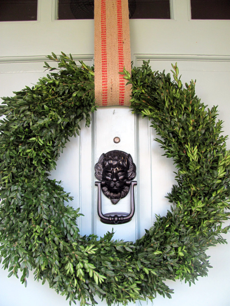 Wreaths for Front Door Entry Eclectic with Boxwood Wreath Door Knocker Jute Whythe Blue