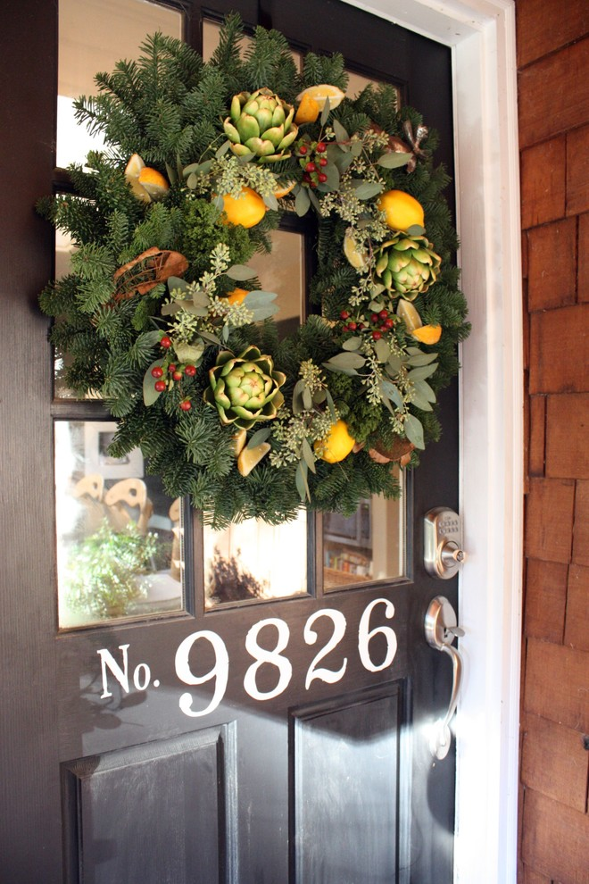 wreaths for front door Entry Traditional with none