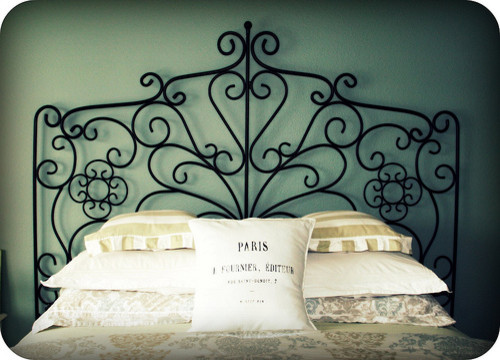 Wrought Iron Headboard Bedroom Traditional with Blue White