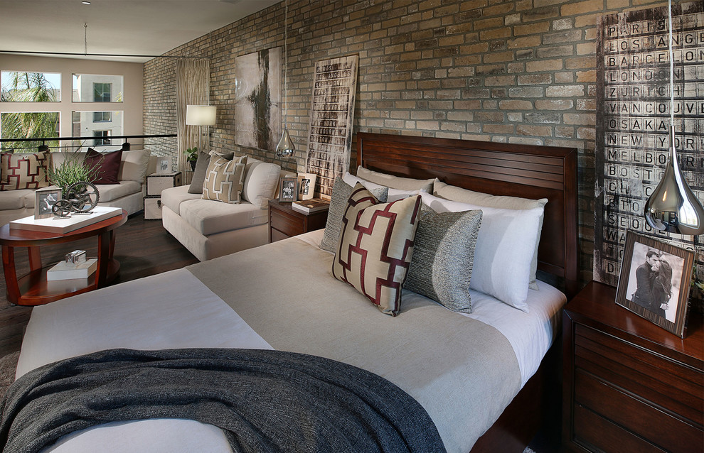 Yellow Comforter Bedroom Contemporary with Brick Veneer Thin Brick Thin Brick Veneer Veneer