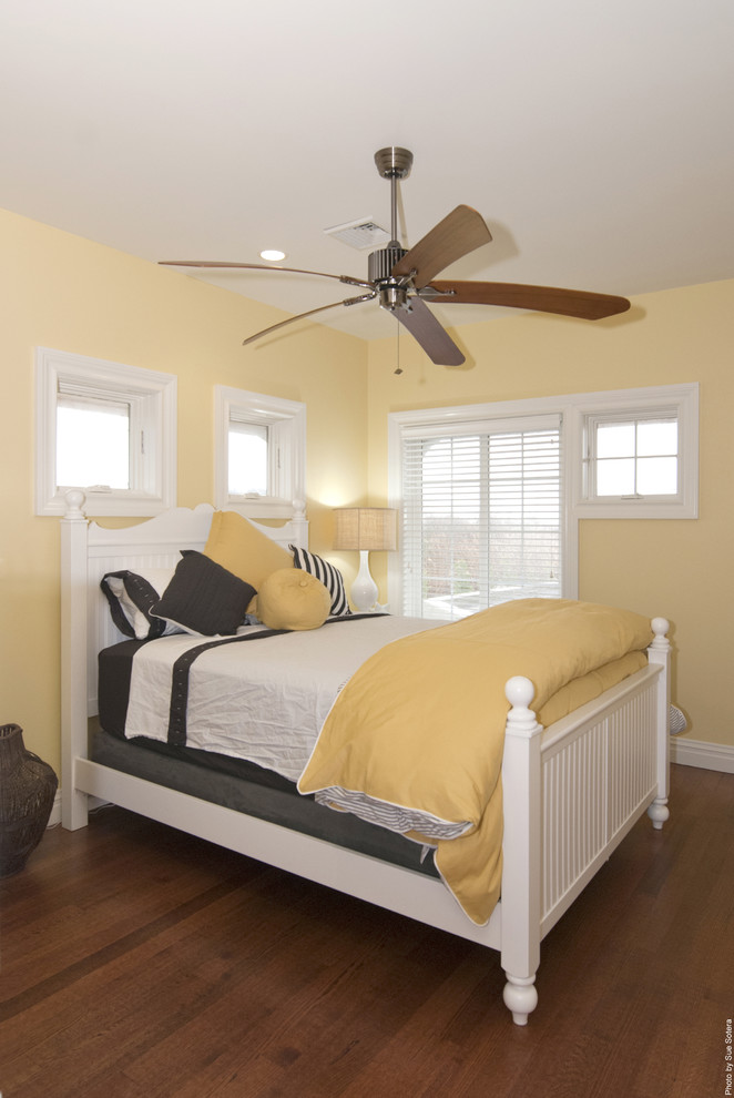 Yellow Comforter Bedroom Contemporary with Ceiling Fan Decorative Pillows Throw Pillows White Bed White Wood Window Treatments