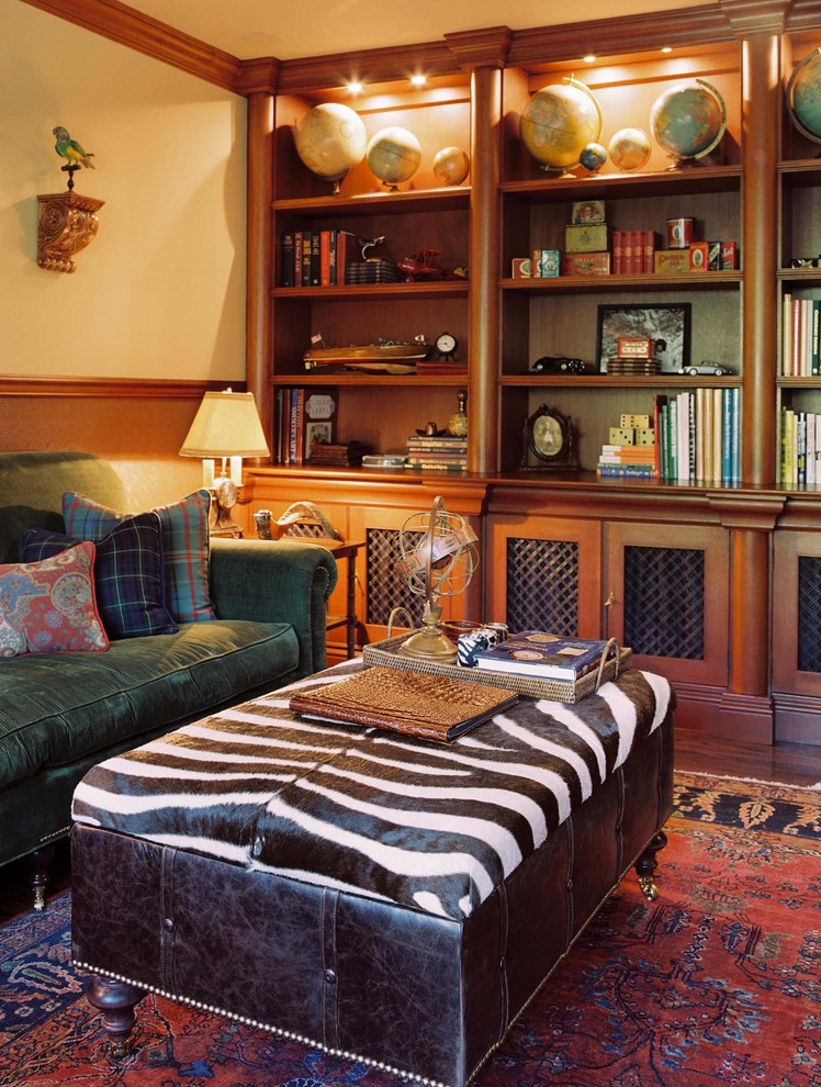 zebra ottoman Family Room Traditional with animal print animal skin area rug bookcase bookshelves built ins collection corduroy