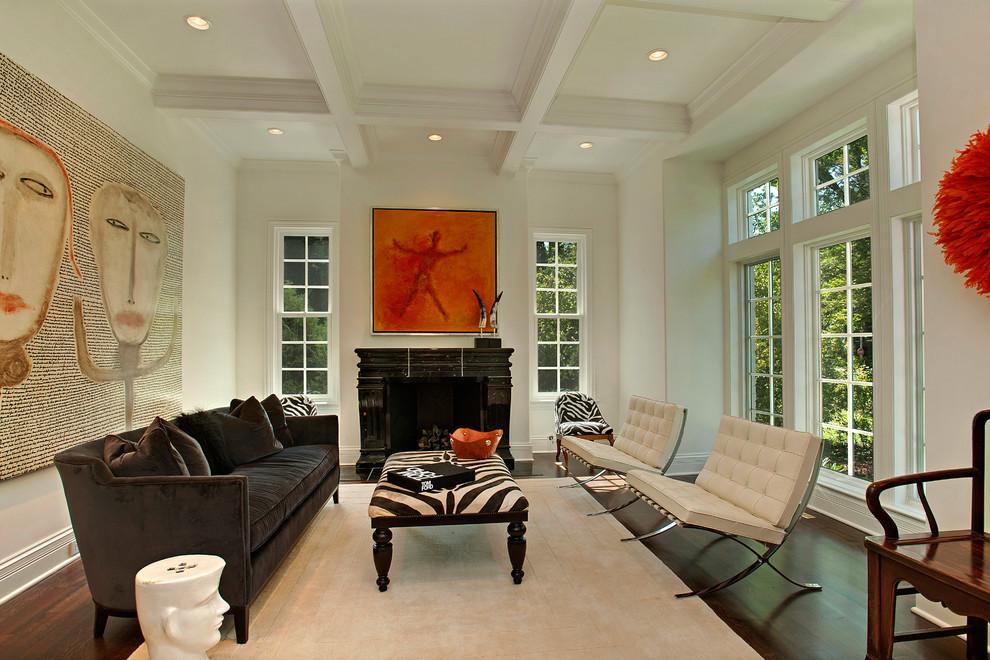 Zebra Ottoman Living Room Contemporary with Beige Rug Brown Sofa Coffered Ceiling Dark Fireplace Mantel Dark Wood Floor
