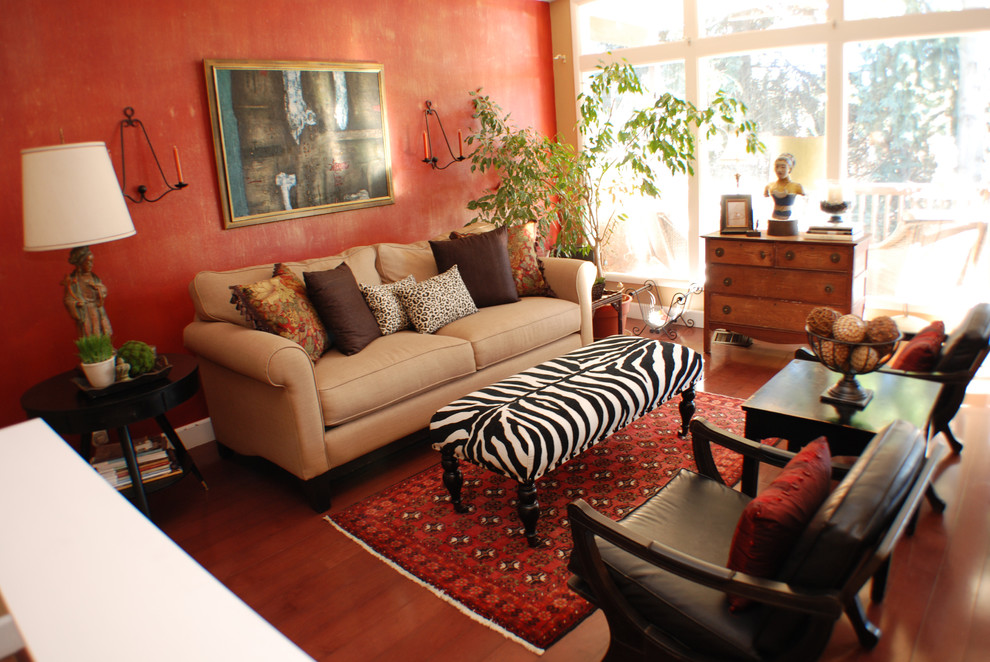 Zebra Ottoman Living Room Eclectic with Antiques Bench Leopard Red Zebra