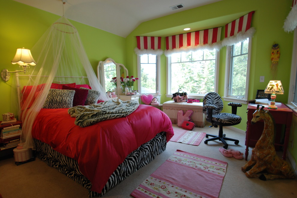 Zebra Print Bedding Kids Eclectic with Bedroom Bedside Table Fuschia Green Walls Lime Green Los Altos Mosquito Netting