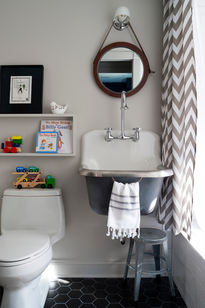 Zebra Rugs Bathroom Transitional with Chevron Curtain Hexagon Tile Industrial Sink Leather Mirror Metal Stool Milk Glass