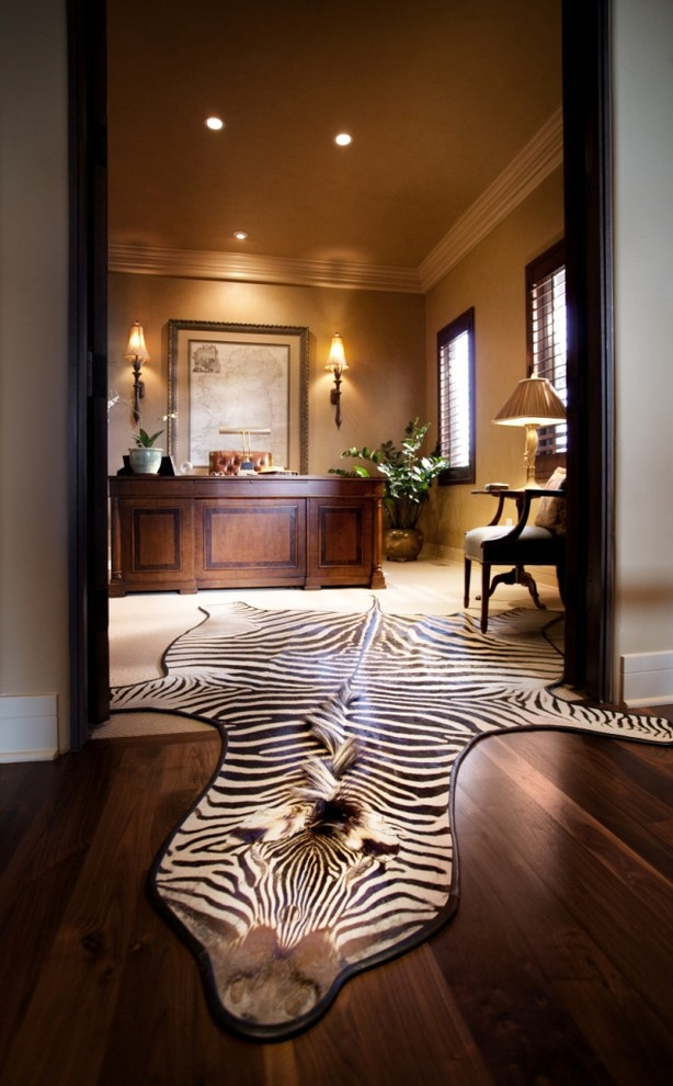 Zebra Rugs Home Office Traditional with Area Rug Ceiling Lighting Container Plant Crown Molding Formal Potted Plant Recessed