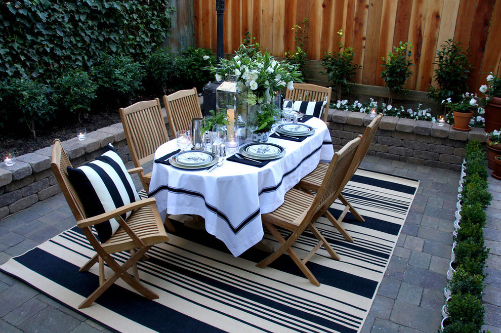 Black and White Striped Throw Pillows Patio Traditional with Black and White Brick