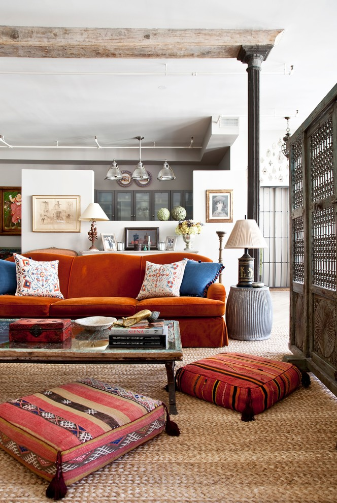 Bohemian Blankets Living Room Eclectic with Artwork Cast Iron Column