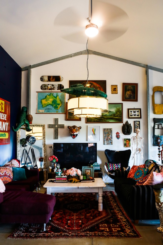 Bohemian Throw Pillows Family Room Eclectic with Black Accent Wall Black