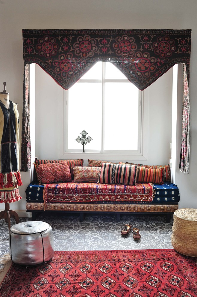 bohemian throw pillows Living Room Mediterranean with area rug buil in