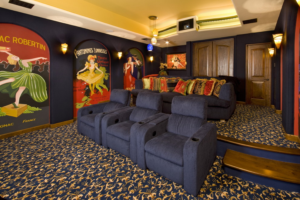 Comfiest Pillow Home Theater Traditional with Big Screen Blue Armchair