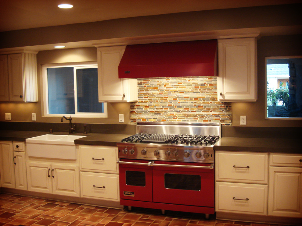 Cow Print Throw Kitchen Traditional with Falling Water Slate Mosaic