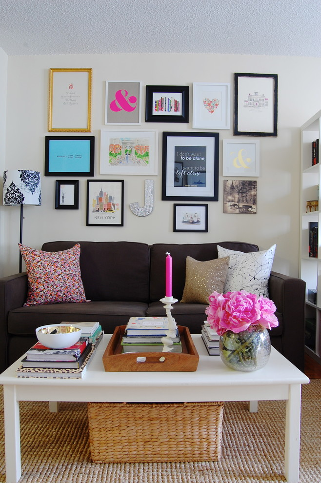 Custom Couch Pillows Family Room Eclectic with Colorful Eclectic Gallery Wall
