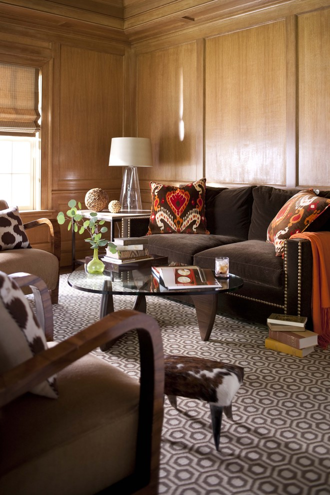 Custom Printed Pillow Cases Living Room Transitional with Area Rug Brown Sofa