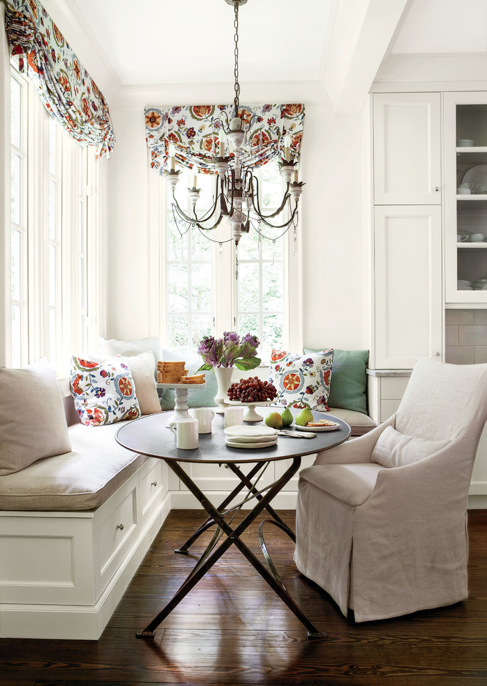 European Down Pillows Kitchen Traditional with Banquette Seating Breakfast Nook