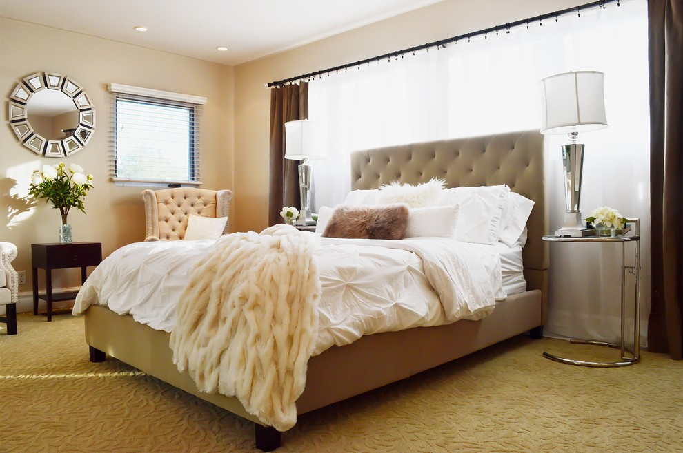 faux fur throw pillow Bedroom Contemporary with Bedroom bedroom chairs beige