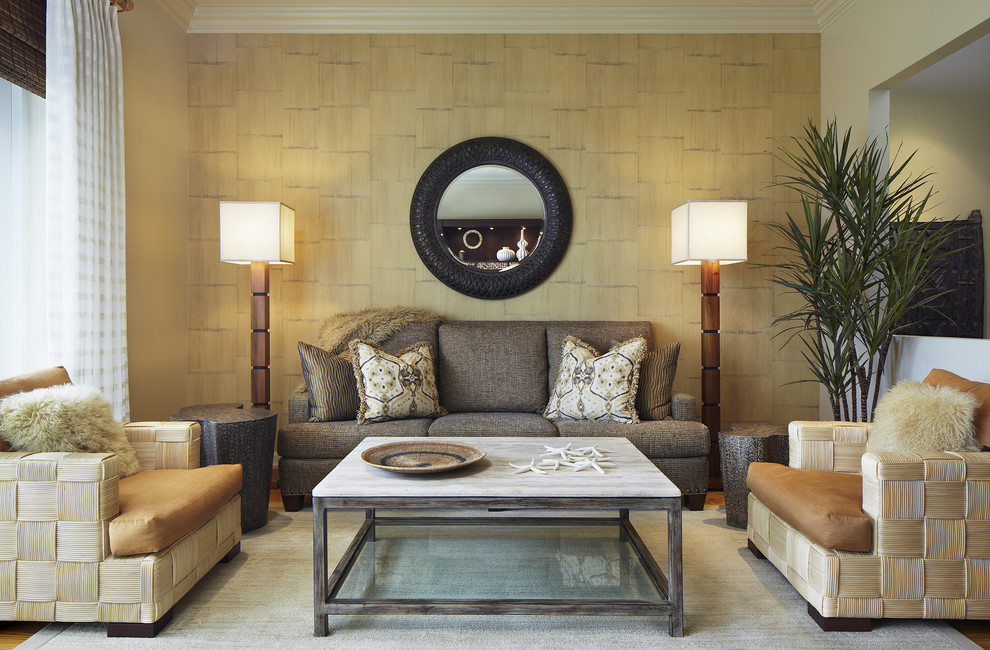 Fuzzy Pillows Living Room Contemporary with Area Rug Circular Mirror