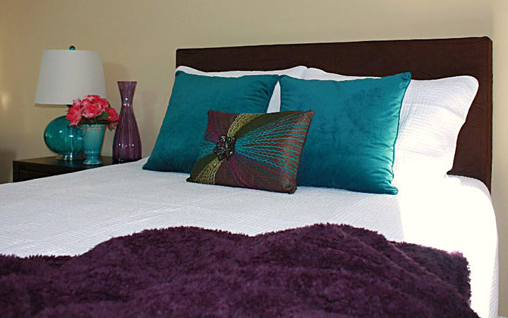 fuzzy throw pillows Bedroom Modern with bed bedding Bedroom blue