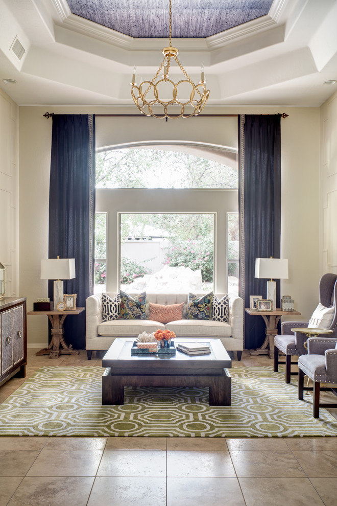 Geometric Throw Pillows Living Room Transitional with Arched Window Beige Tufted