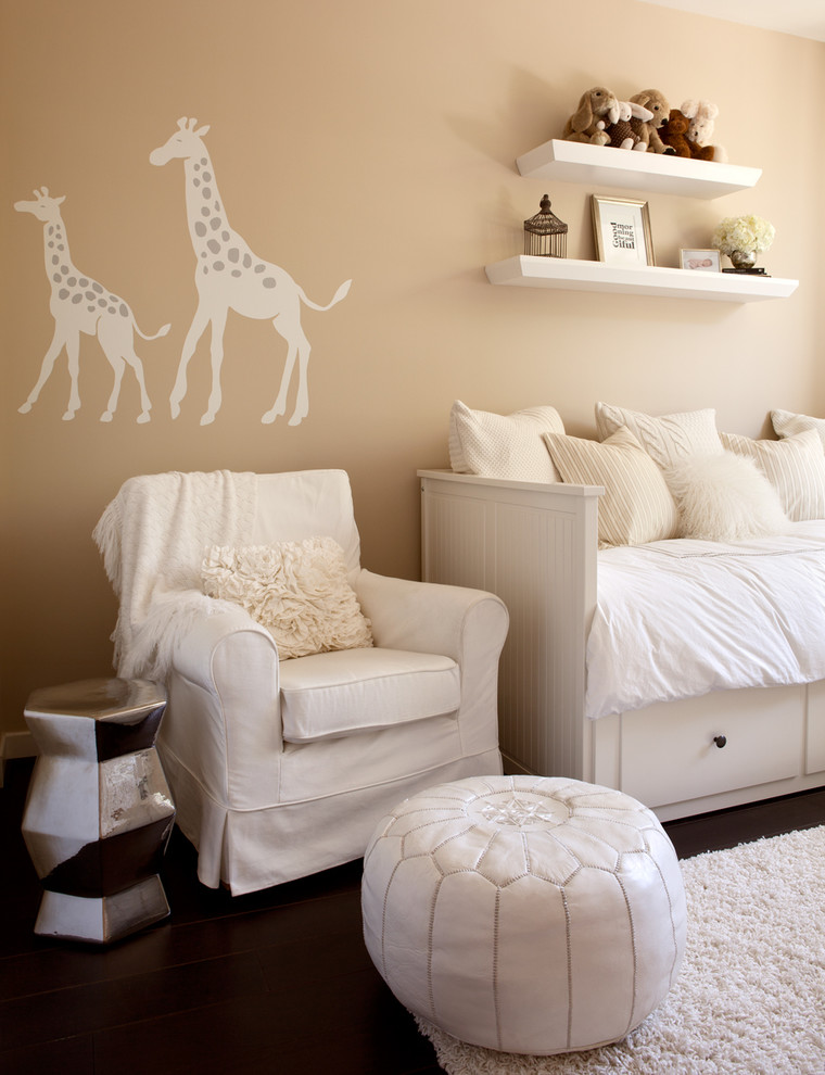 Giraffe Print Throw Pillows Nursery Contemporary with Animal Decals Beige Walls