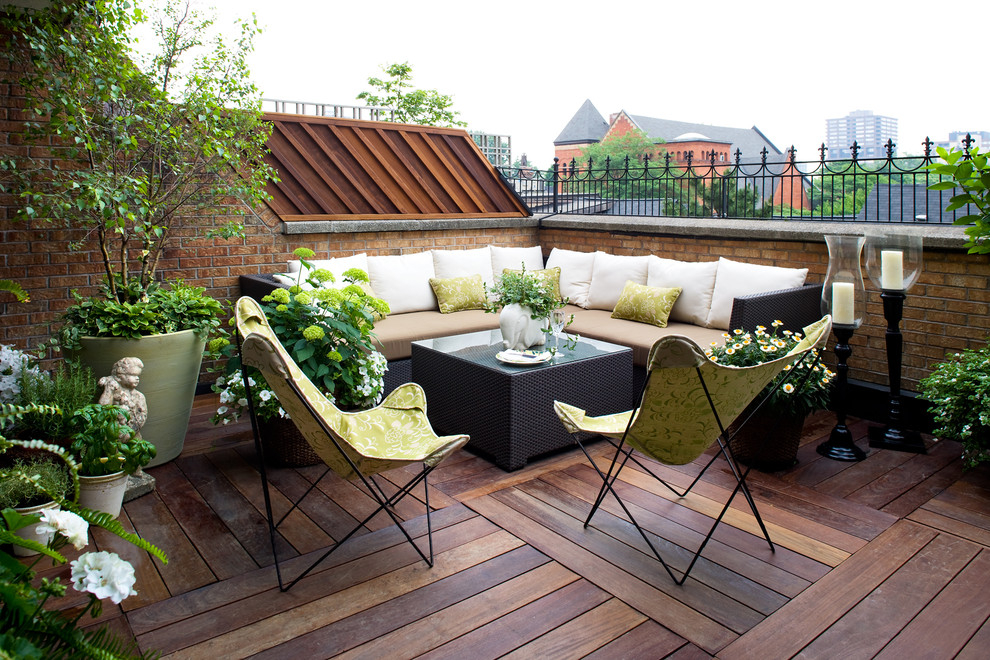Gold Toss Pillows Deck Contemporary with Balcony Brick Brick Railing
