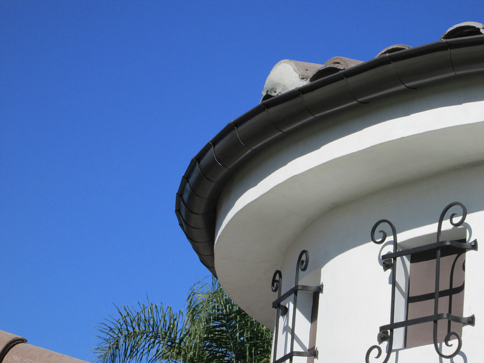 Goose Down Pillow Exterior Traditional with Gutter Chain Rain Gutters