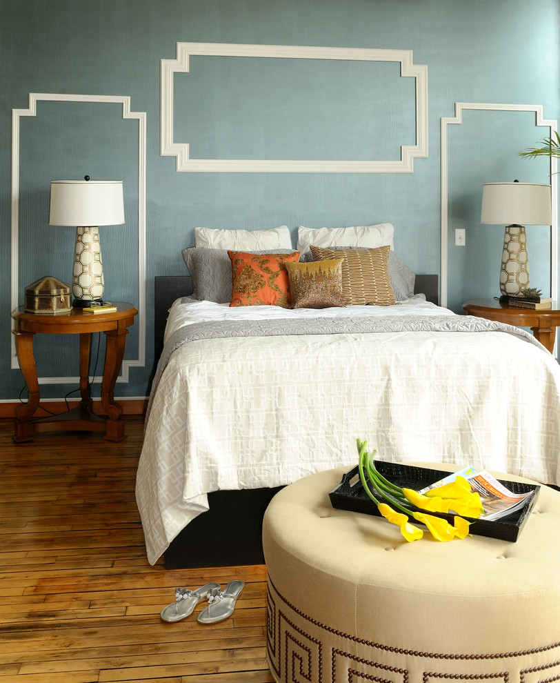 Inexpensive Accent Pillows Bedroom Modern with Bed Bedspread Blue Wall