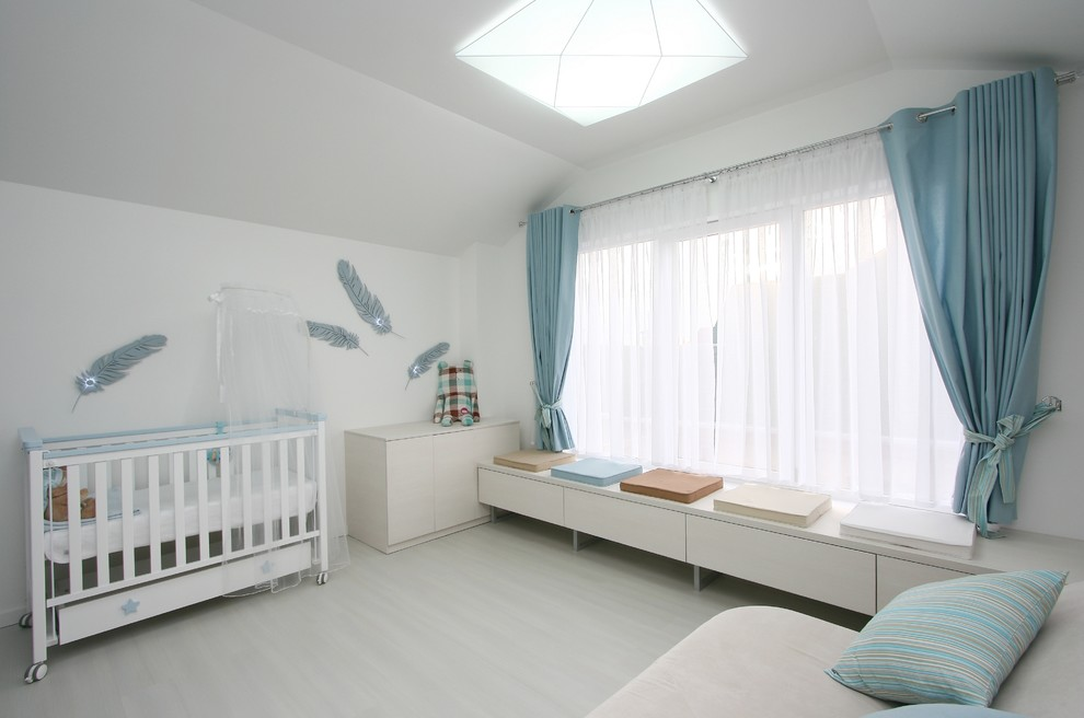 King Feather Pillows Nursery Contemporary with Aqua Built in Bench