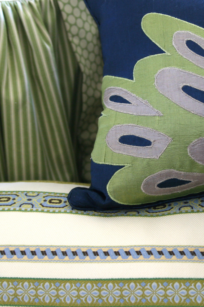 Lime Green Accent Pillows Spaces Traditional with Colorful Fabrics for Play