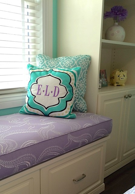 Monogram Throw Pillow Bedroom Transitional with Aqua Built in Bookshelves Built In