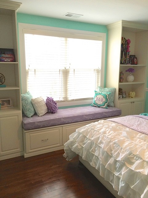 monogram throw pillow Bedroom Transitional with aqua built-in bookshelves built-in