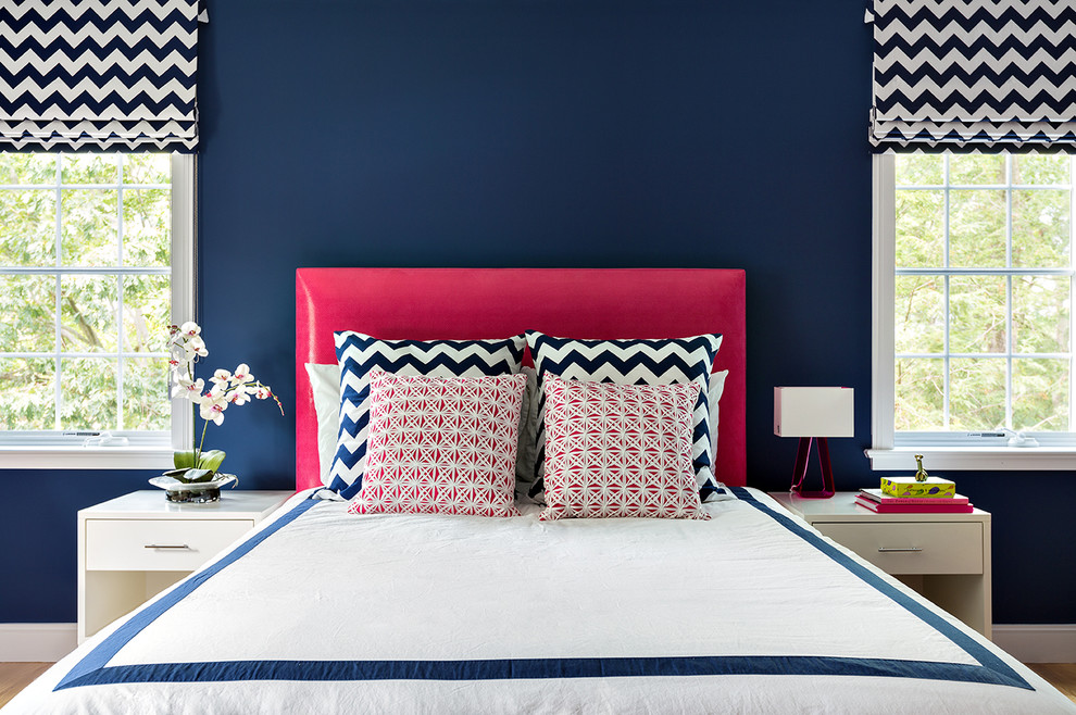 Navy Throw Pillow Bedroom Contemporary with Blue Walls Bright Pink