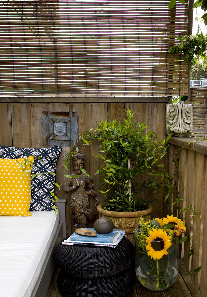 outdoor pillows target Porch Contemporary with bamboo black blinds container