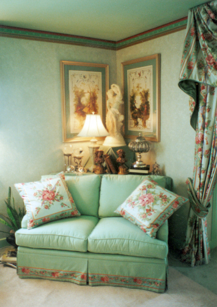 oversized throw pillows Bedroom Traditional with corner table to fill