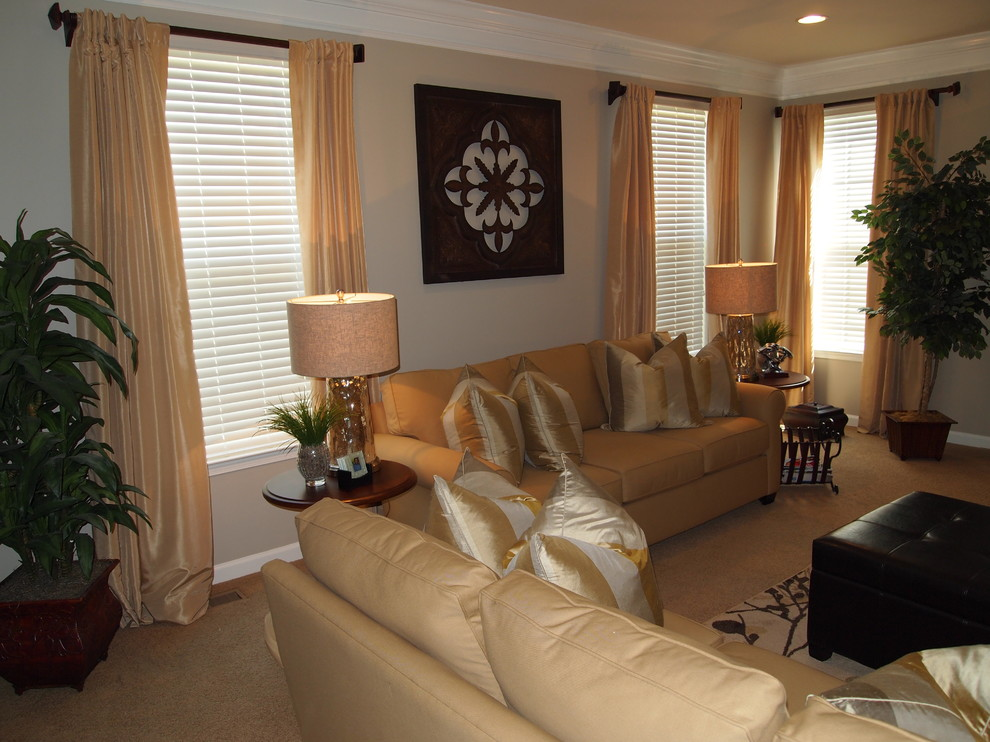 Oversized Throw Pillows Family Room Contemporary with a Monochromatic Golden Flare