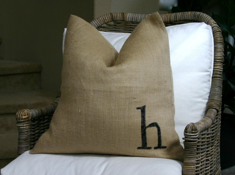 Personalized Photo Pillowcase Living Room Eclectic with Burlap Eco Friendly Henry