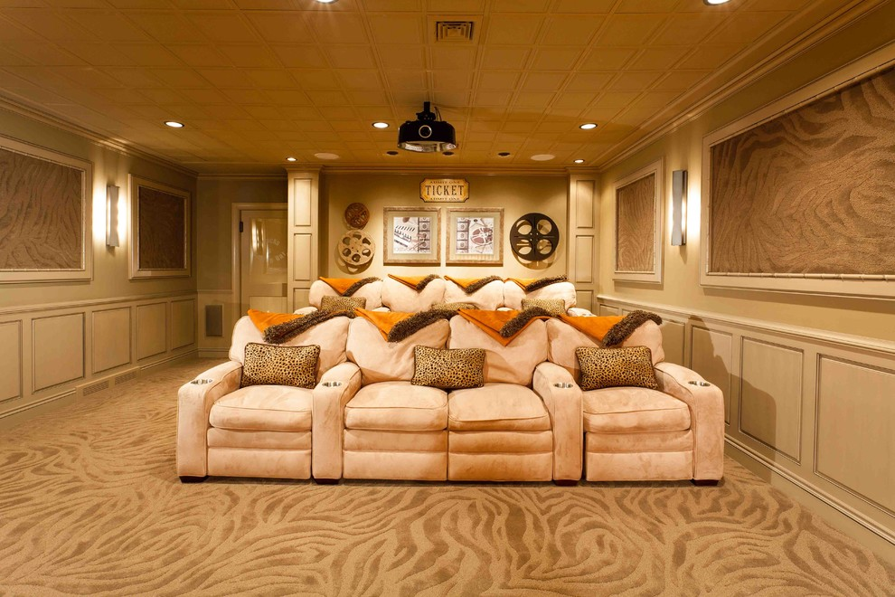 Personalized Throw Pillow Basement Traditional with in Home Movie Theater