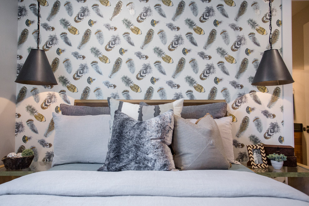 Pillow Feathers Bedroom Transitional with Boys Bedroom Feather Wallpaper