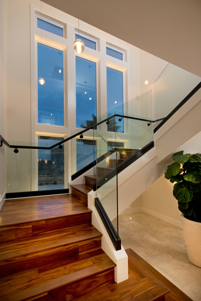 Pillow Feathers Staircase Contemporary with Black Banister Black Railing