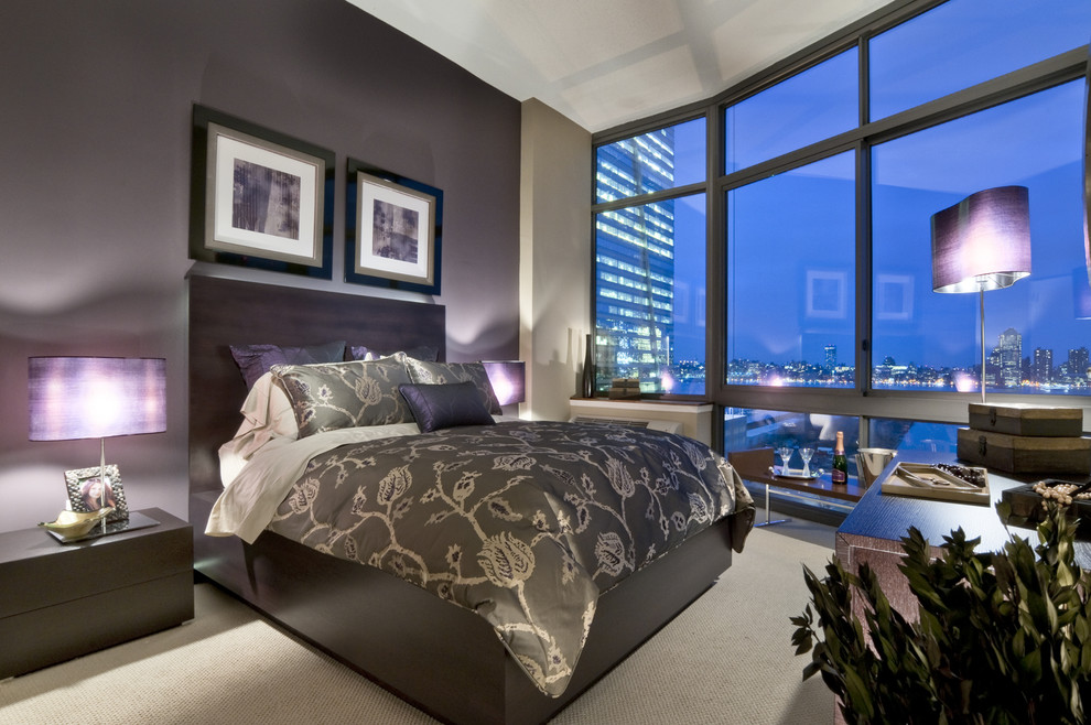 Plum Accent Pillows Bedroom Contemporary with Accent Wall Artwork Bed