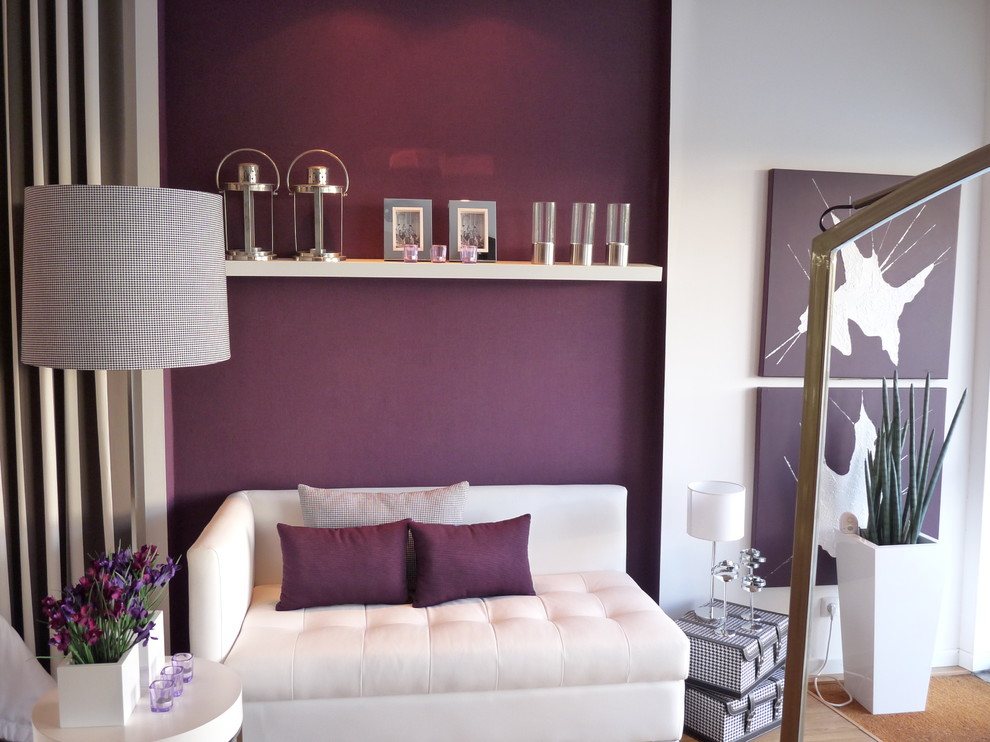 plum accent pillows Living Room Contemporary with accent wall chaise longue