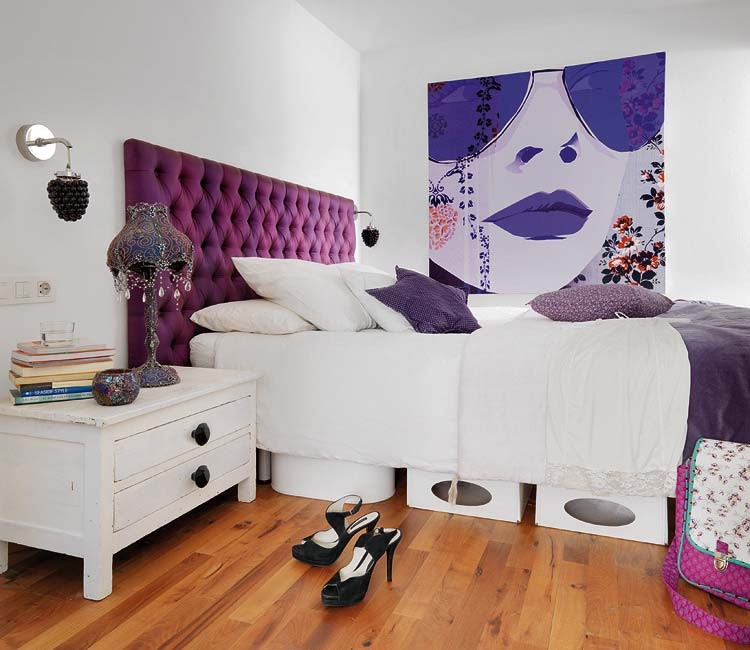 Plum Decorative Pillow Bedroom Eclectic with Art in the Bedroom