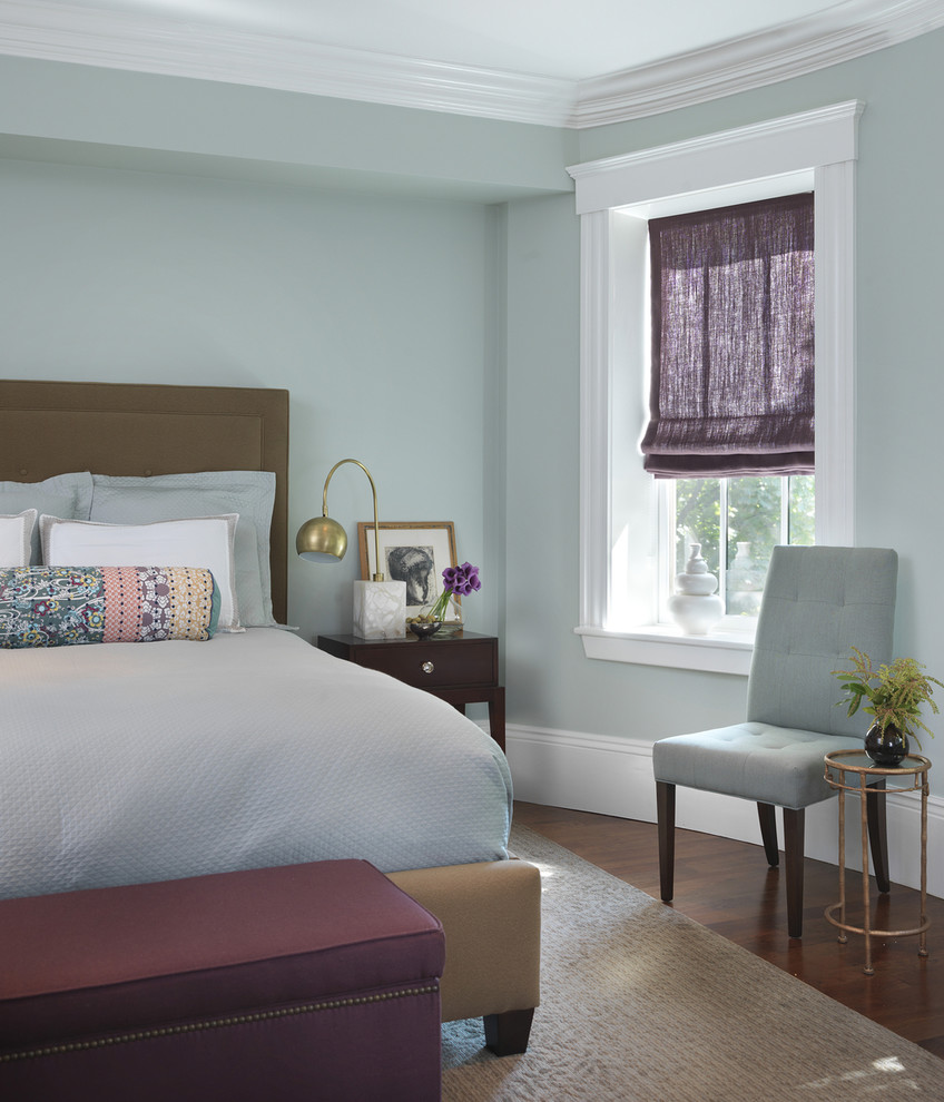 Plum Decorative Pillows Bedroom Transitional with Baseboard Bedside Table Blue